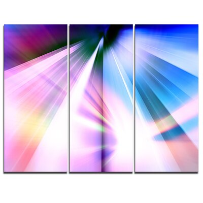 Rays of Speed Blue - 3 Piece Graphic Art on Wrapped Canvas Set PT8131-3P