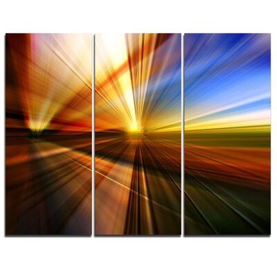 Rays of Speed Reflection - 3 Piece Graphic Art on Wrapped Canvas Set PT8128-3P