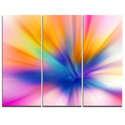 Rays of Speed Yellow - 3 Piece Graphic Art on Wrapped Canvas Set PT8130-3P