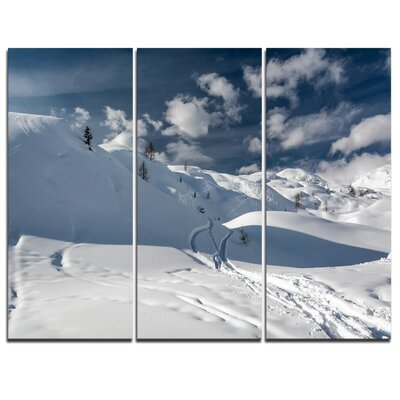 Ski Tracks on a Slope - 3 Piece Graphic Art on Wrapped Canvas Set PT8981-3P