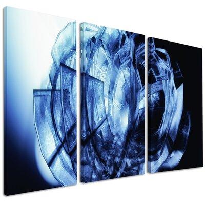Fractal 3D Blue Glass Pattern - 3 Piece Graphic Art on Wrapped Canvas Set PT9165-3P