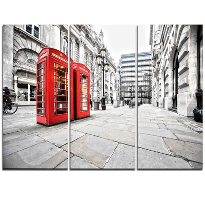 Phone Booths on Street - 3 Piece Graphic Art on Wrapped Canvas Set PT9887-3P