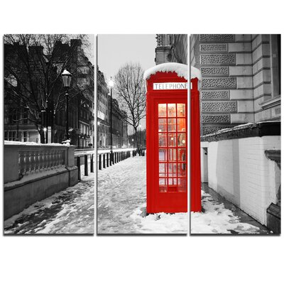 Red London Telephone Booth - 3 Piece Graphic Art on Wrapped Canvas Set PT10178-3P