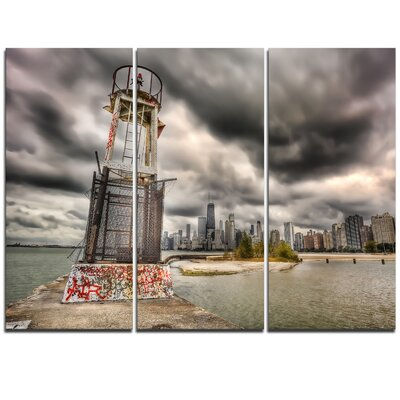 Lake Michigan Navigation Light - 3 Piece Graphic Art on Wrapped Canvas Set PT10103-3P