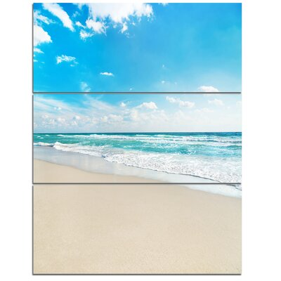 Sea Beach Against Wave Foaming - 3 Piece Graphic Art on Wrapped Canvas Set PT10749-3PV
