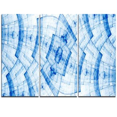 Blue Fractal Flower Pattern Grid - 3 Piece Graphic Art on Wrapped Canvas Set PT11966-3P