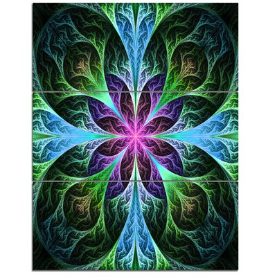 Glowing Blue and Green Fractal Flower Pattern - 3 Piece Graphic Art on Wrapped Canvas Set PT11976-3PV