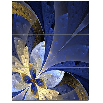 Blue and Yellow Large Fractal Pattern - 3 Piece Graphic Art on Wrapped Canvas Set PT11970-3PV