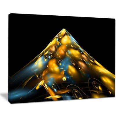 "'Fractal Golden Blue Structure' Graphic Art on Wrapped Canvas Size: 28"" H x 60"" W x 1.5"" D PT9312-60-28"