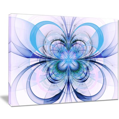 'Turquoise Fractal Flower Pattern' Graphic Art on Wrapped Canvas PT8712-20-12