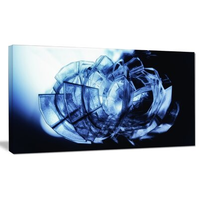 'Fractal 3D Blue Glass Pattern' Graphic Art on Wrapped Canvas PT9165-20-12