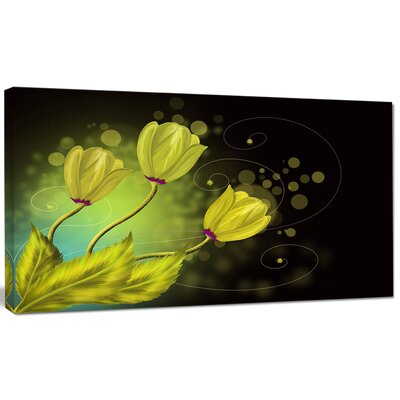 "'Golden Flowers Greeting Card' Graphic Art on Wrapped Canvas Size: 28"" H x 60"" W x 1.5"" D PT9666-60-28"