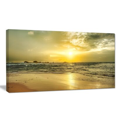 "'Golden Sunset Over Sea' Photographic Print on Wrapped Canvas Size: 28"" H x 60"" W x 1.5"" D PT9048-60-28"