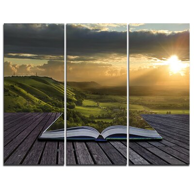 Open Book to Green Valley - 3 Piece Graphic Art on Wrapped Canvas Set PT6826-3P