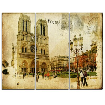 Notre Dame Cathedral Vintage Card - 3 Piece Graphic Art on Wrapped Canvas Set PT6876-3P