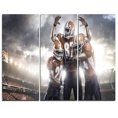 American Football Players on Stadium - 3 Piece Graphic Art on Wrapped Canvas Set PT7307-3P