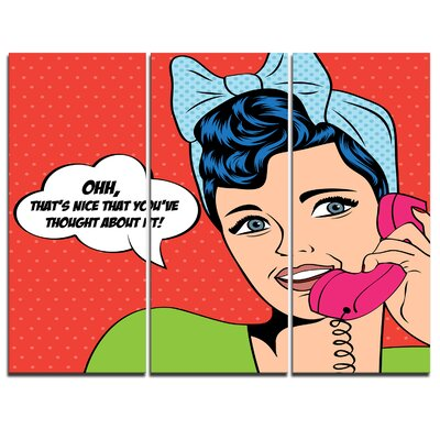 Woman Talking on Phone - 3 Piece Graphic Art on Wrapped Canvas Set PT7881-3P
