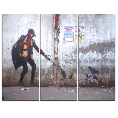 Spiderman in Dharavi Slum - 3 Piece Graphic Art on Wrapped Canvas Set PT6657-3P