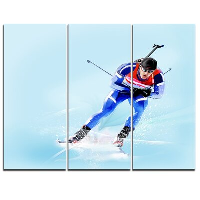 Professional Male Skier - 3 Piece Graphic Art on Wrapped Canvas Set PT8252-3P