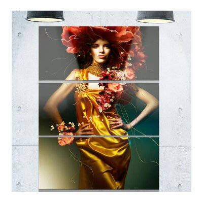 Sensual Woman in Yellow Dress - 3 Piece Graphic Art on Wrapped Canvas Set PT7461-3PV
