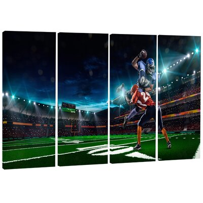 American Football Player - Sports Digital 4 Piece Graphic Art on Wrapped Canvas Set PT7298-271
