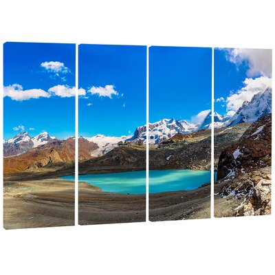 Image of Alps Mountain Fountain 4 Piece Photographic Print on Wrapped Canvas Set