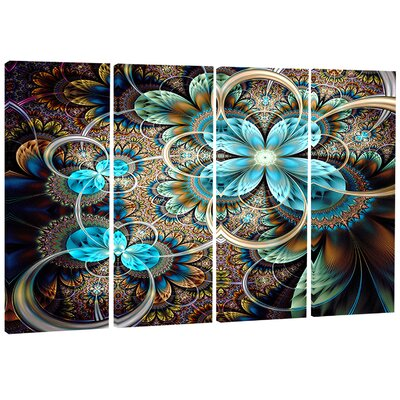 Fractal Flowers with Shade - Digital 4 Piece Graphic Art on Wrapped Canvas Set PT7498-271
