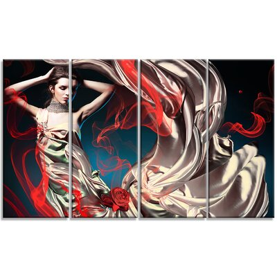Woman in Long Fairy Dress - Abstract Portrait 4 Piece Graphic Art on Wrapped Canvas Set PT7237-271