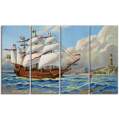 Ancient Boat Drifting in Sea - Seascape 4 Piece Painting Print on Wrapped Canvas Set PT7481-271