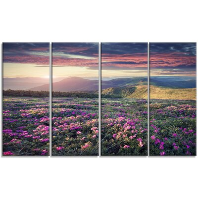 'Blossom Carpet of Pink Rhododendron' 4 Piece Photographic Print on Wrapped Canvas Set PT14606-271