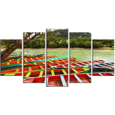 'Colourful Boats in Mexico' 5 Piece Photographic Print on Wrapped Canvas Set PT12683-373