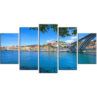 'Douro River and Iron Bridge Portugal' 5 Piece Photographic Print on Wrapped Canvas Set PT12363-373