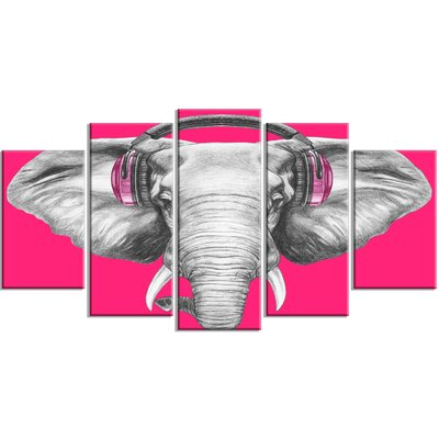 'Elephant with Headphones' 5 Piece Painting Print on Wrapped Canvas Set PT13208-373