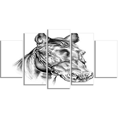 'Freehand Horse Head Pencil Drawing' 5 Piece Wall Art on Wrapped Canvas Set PT14928-373