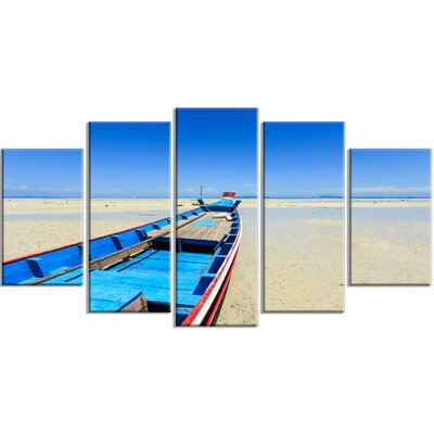 'Long Tail Boat Stand at the Beach' 5 Piece Photographic Print on Wrapped Canvas Set PT14724-373
