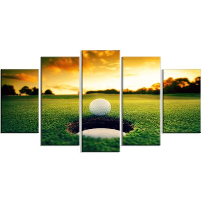 'Golf Ball Near Hole' 5 Piece Photographic Print on Wrapped Canvas Set PT14848-373