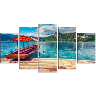 'Boat in Lake Bled in Julian Alps' 5 Piece Photographic Print on Wrapped Canvas Set PT14574-373