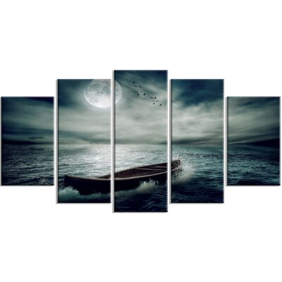'Boat Drifting Away after Storm' 5 Piece Photographic Print on Wrapped Canvas Set PT14677-373