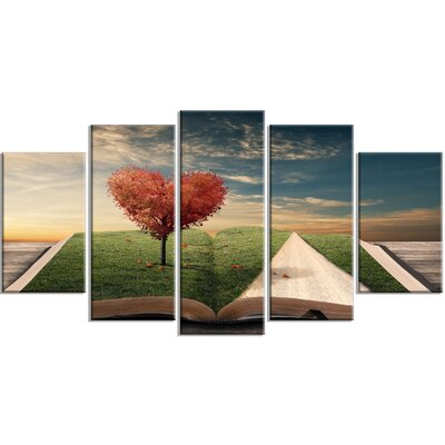 'Amazing Heart Tree and Book' 5 Piece Graphic Art on Wrapped Canvas Set PT14796-373