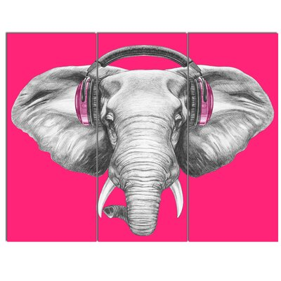 'Elephant with Headphones' 3 Piece Graphic Art on Wrapped Canvas Set PT13208-3P