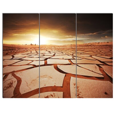 'Drought Land under Dark Skies' 3 Piece Photographic Print on Wrapped Canvas Set PT12307-3P