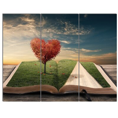 'Amazing Heart Tree and Book' 3 Piece Graphic Art on Wrapped Canvas Set PT14796-3P