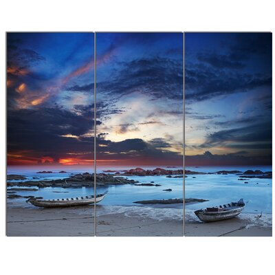 'Colourful Traditional Asian Boats' 3 Piece Photographic Print on Wrapped Canvas Set PT14823-3P