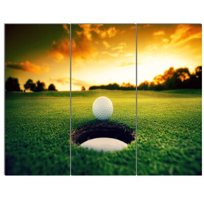'Golf Ball Near Hole' 3 Piece Photographic Print on Wrapped Canvas Set PT14848-3P