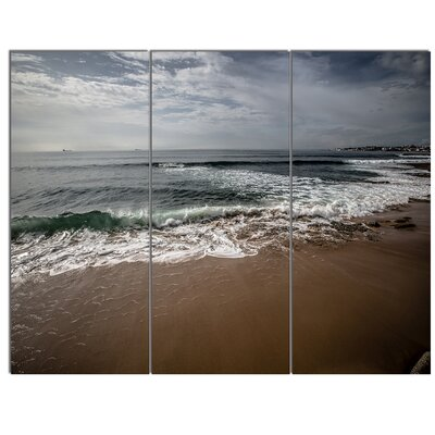 'Soft Waves of Sea on Sandy Beach' 3 Piece Photographic Print on Wrapped Canvas Set PT14706-3P