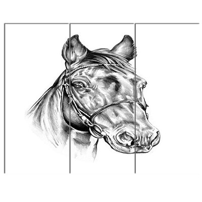 'Freehand Horse Head Pencil Drawing' 3 Piece Painting Print on Wrapped Canvas Set PT14928-3P