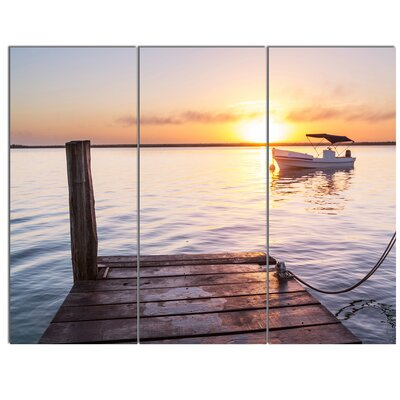 'Boat View From Boardwalk on Beach' 3 Piece Photographic Print on Wrapped Canvas Set PT12214-3P