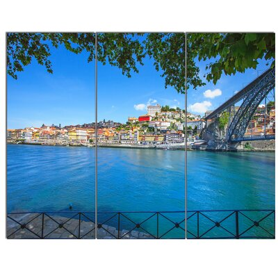 'Douro River and Iron Bridge Portugal' 3 Piece Photographic Print on Wrapped Canvas Set PT12363-3P