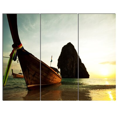'Tropical Beach with Huge Boat' 3 Piece Photographic Print on Wrapped Canvas Set PT12445-3P