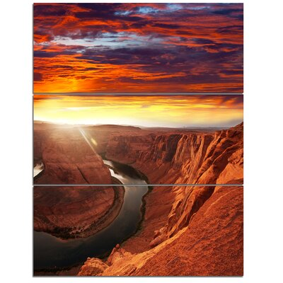 'Horse Shoe Bend under Sunset Sky' 3 Piece Photographic Print on Wrapped Canvas Set PT12933-3PV